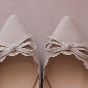 NEW Scalloped Tan Bow Ballet Flats